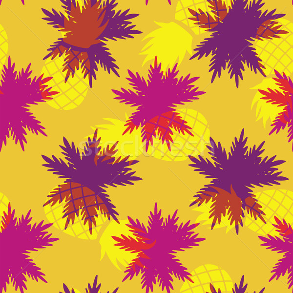 Tropical summer pineapple palm leaf pattern Stock photo © cienpies