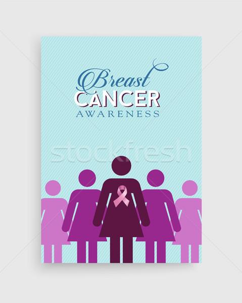 Stock foto: Brustkrebs · Bewusstsein · rosa · Mädchen · Plakat · Design