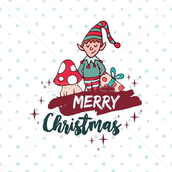 Christmas cute helper elf vakantie Stockfoto © cienpies