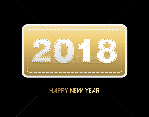 Happy New Year 2018 gold stitch patch card Stock photo © cienpies