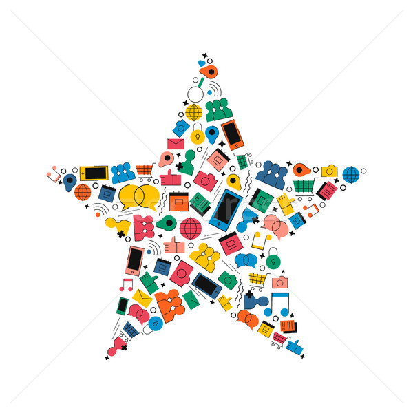 Social media network star shape concept icon  Stock photo © cienpies