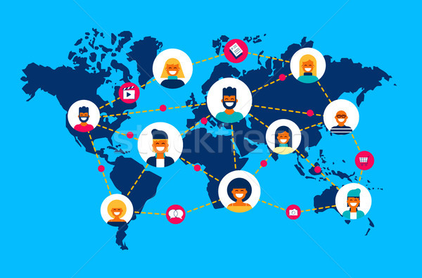 Social network world map people team connection Stock photo © cienpies