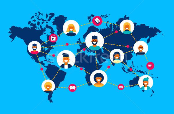 Мир карта люди команда связи Мир Сток-фото © cienpies