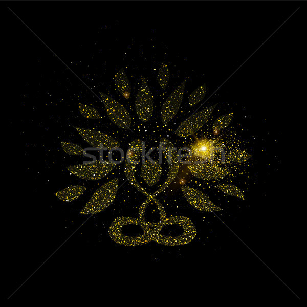 Yoga tree concept made of gold glitter dust Stock photo © cienpies