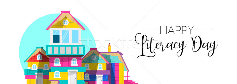 International Literacy Day book house web banner Stock photo © cienpies