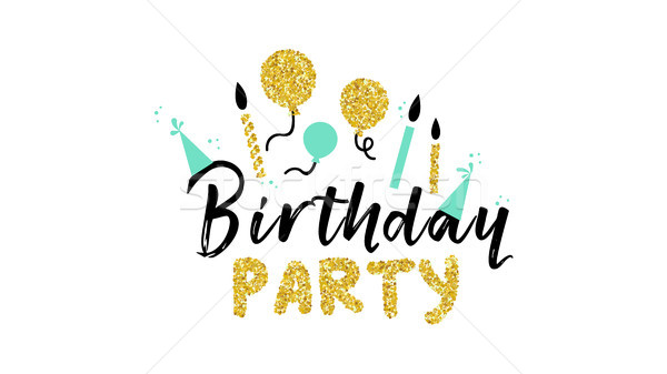 Fête d'anniversaire or glitter texte citer typographie Photo stock © cienpies