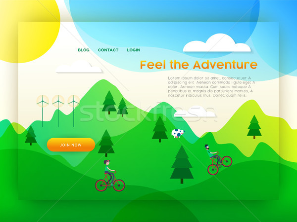 Eco friendly city tourism landing page template Stock photo © cienpies