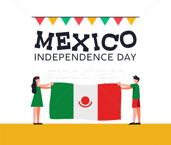 Mexico Independence Day friends with mexican flag Stock photo © cienpies