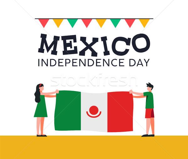 Stock fotó: Mexikó · nap · barátok · mexikói · zászló · boldog