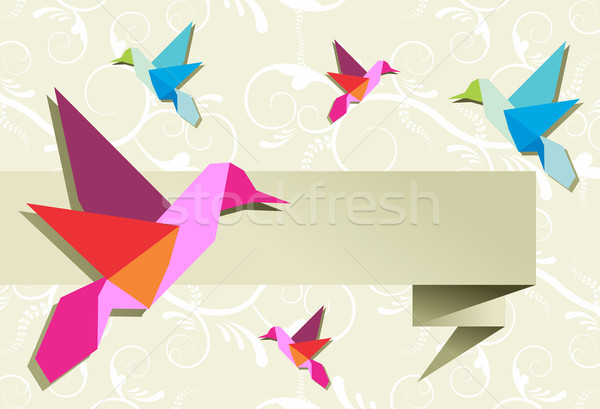 Origami hummingbird group with banner Stock photo © cienpies