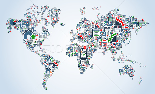 Property service icons world map vector illustration cienpies add to lightbox download comp gumiabroncs Choice Image