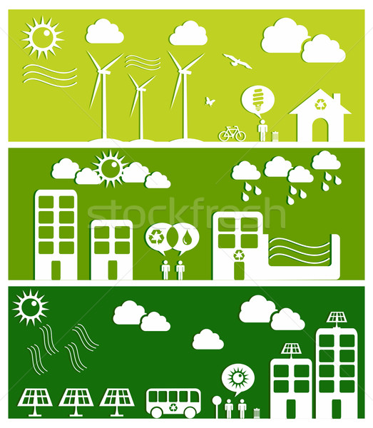 Green city concept illustration Stock photo © cienpies