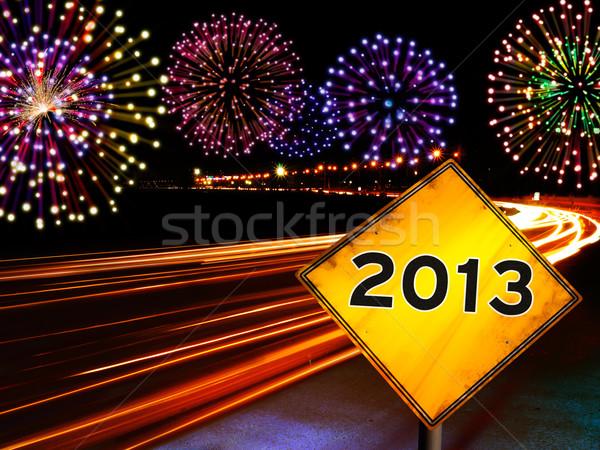 Сток-фото: с · Новым · годом · фейерверк · город · шоссе · 2013 · год