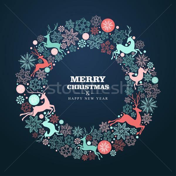 陽気な クリスマス 明けましておめでとうございます グリーティングカード 花輪 ストックフォト © cienpies