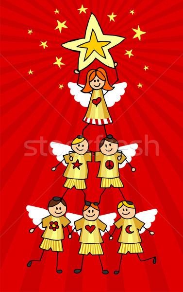Choinka dzieci wznoszenia wraz formularza dziewczyna Zdjęcia stock © cienpies