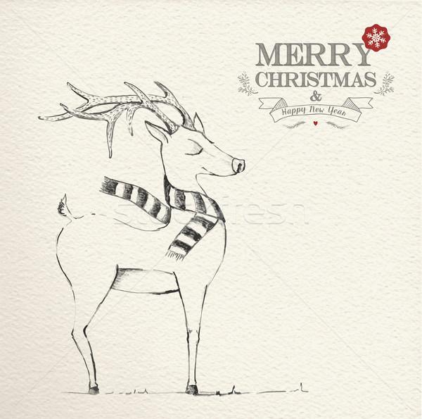Christmas hand drawn unique reindeer illustration Stock photo © cienpies