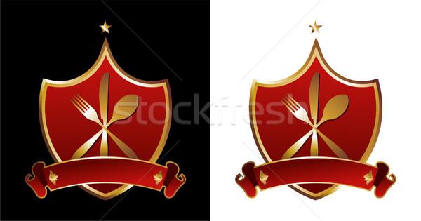 Restaurante ilustraciones cubiertos iconos dorado siluetas Foto stock © cienpies