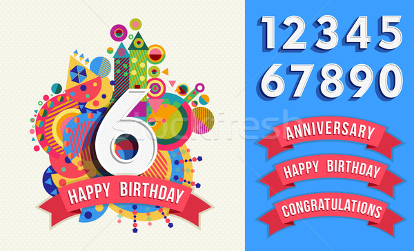 Happy birthday greeting card number set template Stock photo © cienpies