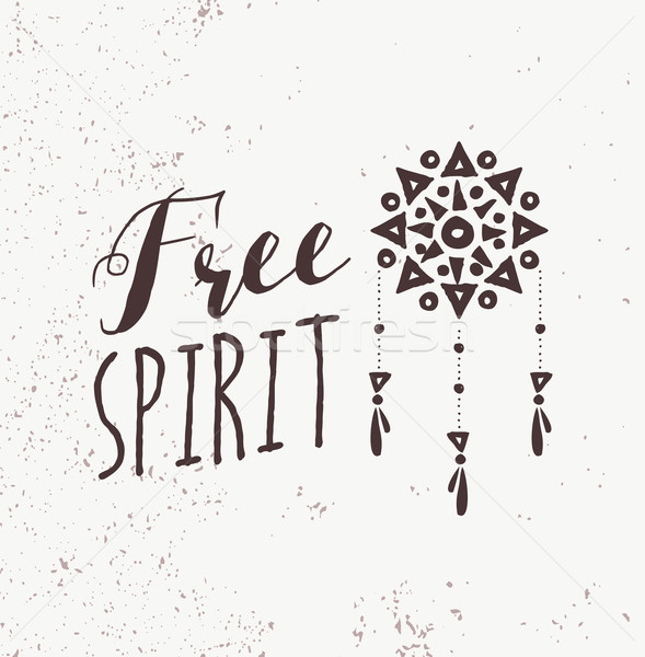Stock photo: Black and white boho design be a free spirit