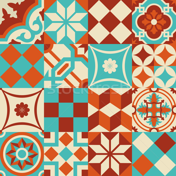 Ceramic mosaic tile pattern with geometry shapes Stock photo © cienpies