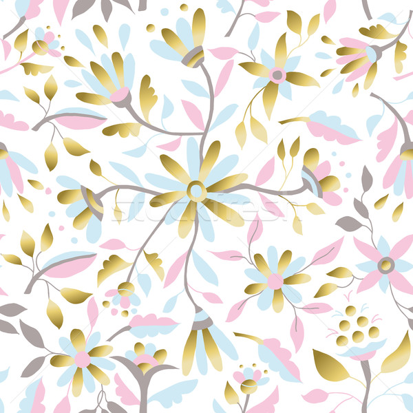 Stock photo: Gold flower decoration seamless pattern design