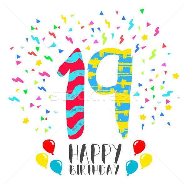 Boldog születésnapot 19 év buli meghívó kártya szám Stock fotó © cienpies