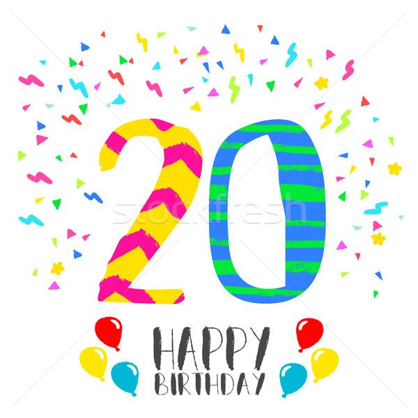 Feliz aniversário 20 ano cartão número Foto stock © cienpies