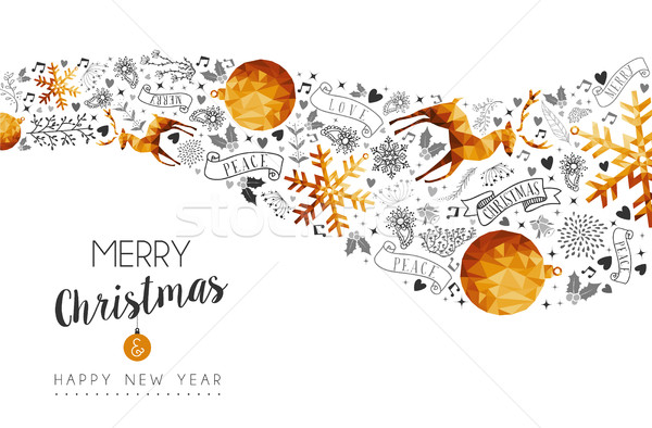 Christmas and New Year gold low poly background Stock photo © cienpies