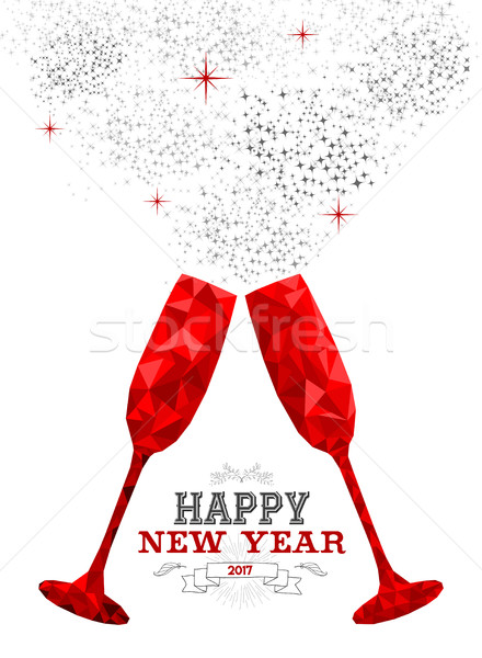 Happy New Year red party drink toast in low poly Stock photo © cienpies