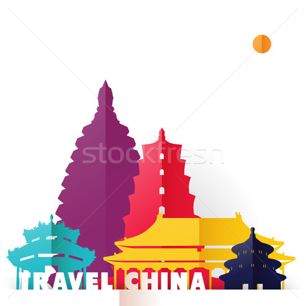Travel China paper cut world monuments Stock photo © cienpies