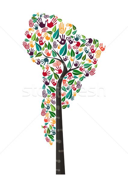 Güney amerika el baskı ağaç simge dünya Stok fotoğraf © cienpies