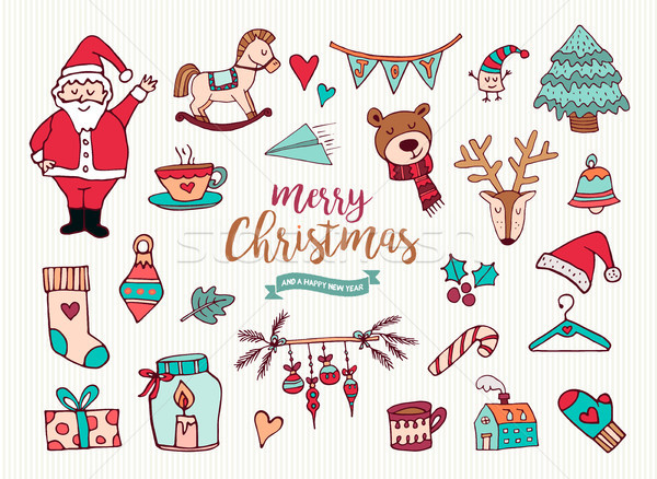 Christmas new year cute doodle cartoon collection Stock photo © cienpies