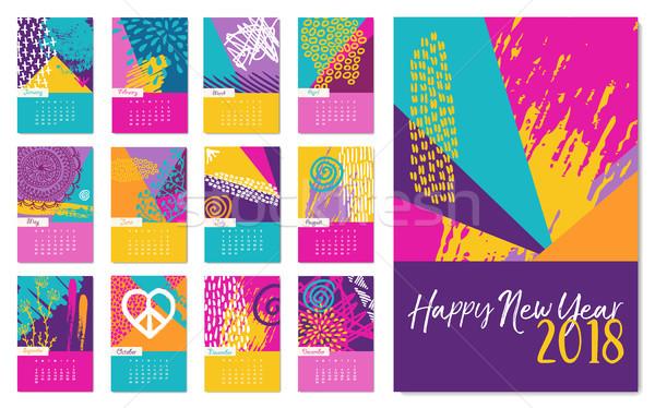 New Year 2018 fun hand drawn color calendar Stock photo © cienpies
