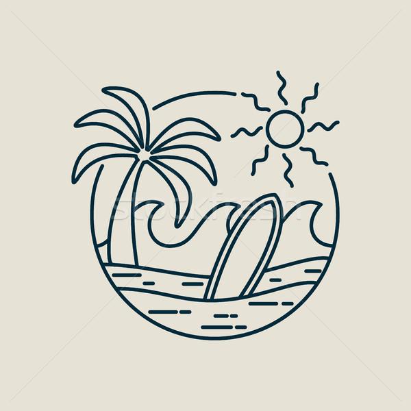 Surfer рай пляж штампа линия искусства Сток-фото © cienpies