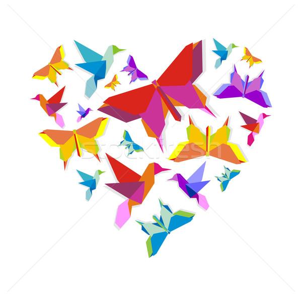 весны оригами птица любви бабочка группа Сток-фото © cienpies