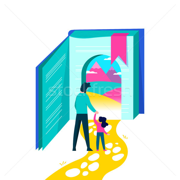 Kids education concept of book story imagination Stock photo © cienpies