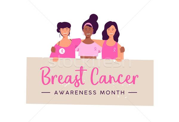 Breast Cancer Awareness women group card Stock photo © cienpies