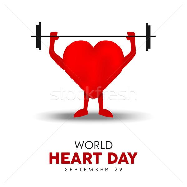 Mundo corazón día tarjeta ejercicio salud Foto stock © cienpies