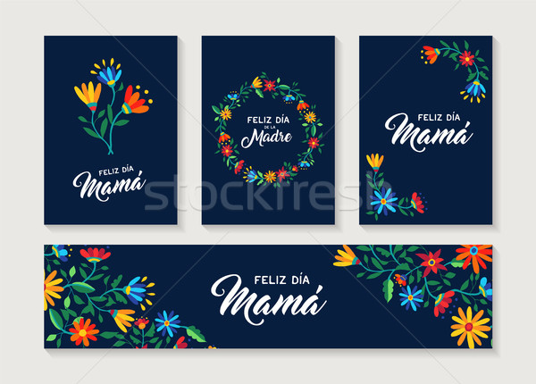 Feliz mãe dia espanhol flor cartão Foto stock © cienpies