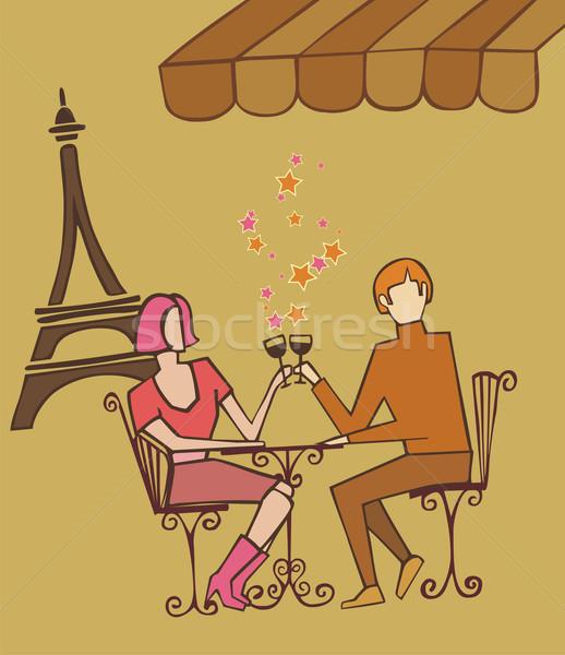 カップル パリ 祝う シャンパン 楽しむ レストラン ストックフォト © cienpies