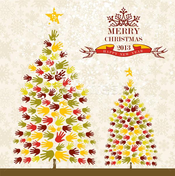 ストックフォト: 陽気な · クリスマス · 松 · 手 · カード · 多様