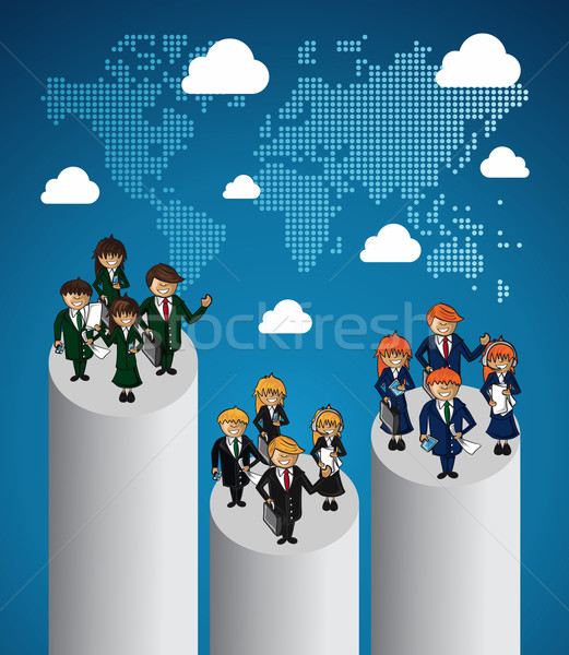 Global map business teamwork ranking. Stock photo © cienpies