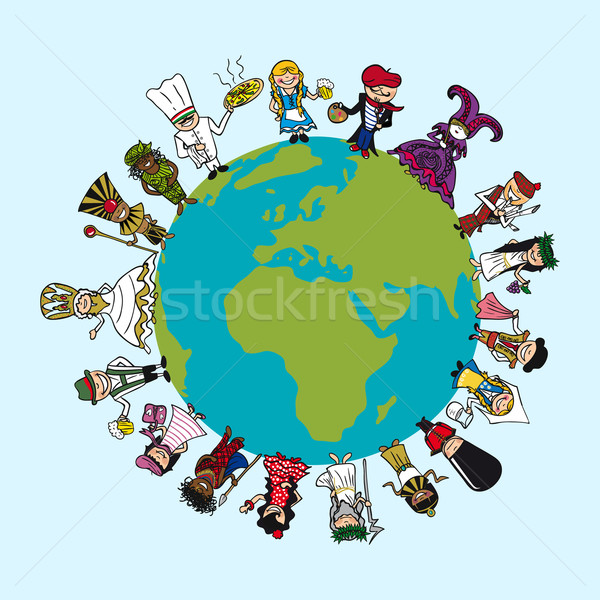 Diversity people cartoons, distinctive outfit, planet earth illu Stock photo © cienpies