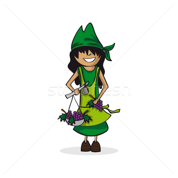 Profession agriculteur femme cartoon chiffre carrière Photo stock © cienpies