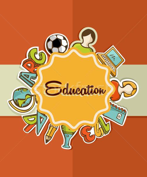 Oktatás címke vissza az iskolába ikonok színes narancs Stock fotó © cienpies