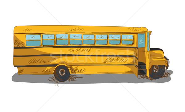 изолированный Снова в школу автобус образование Cartoon иллюстрация Сток-фото © cienpies