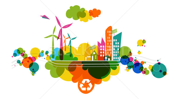 Go green transparent colorful city. Stock photo © cienpies