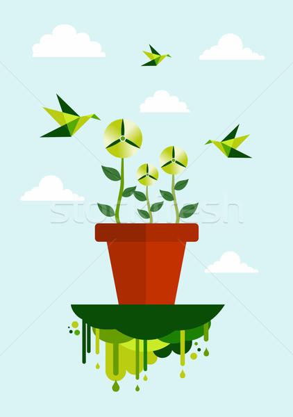 зеленый среде Чистая энергия цветочный горшок ветровой турбины иллюстрация Сток-фото © cienpies