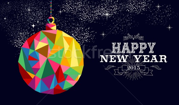 Nouvelle année 2015 babiole ornement carte happy new year Photo stock © cienpies