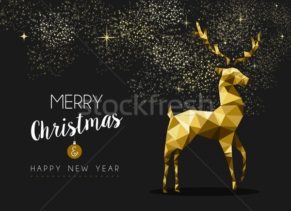 Allegro Natale buon anno oro cervo origami Foto d'archivio © cienpies